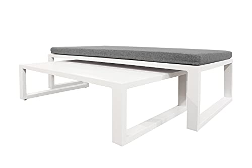 Muebletmoi - 2 mesas bajas nido de jardín de aluminio blanco modulable en 1 puf con cojín extraíble de tela gris jaspeado – Estilo Lounge