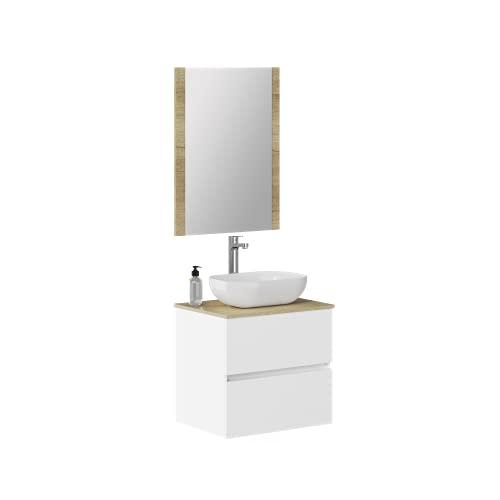 Conjunto de Mueble de Baño con Dos cajones suspendido a la Pared, con Lavabo Sobrepuesto y Espejo con Marco de Madera. Medidas 70 cm x 54,5cm x 46 cm. Se Entrega montado.