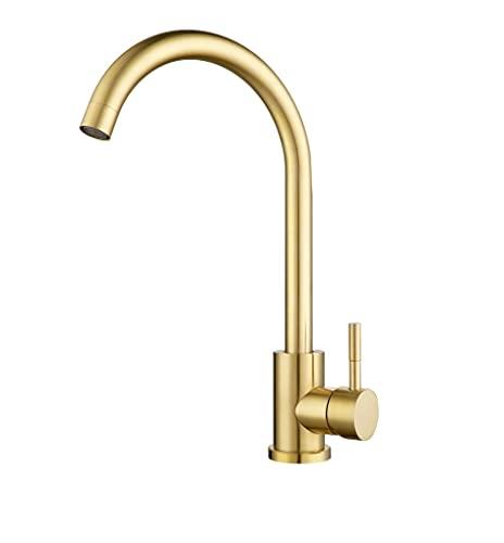 Assiniboine Kitchen Tap, Monobloc Brushed Gold Kitchen Mixer Tap, Single Lever Kitchen Sink Tap with Swivel Spout
