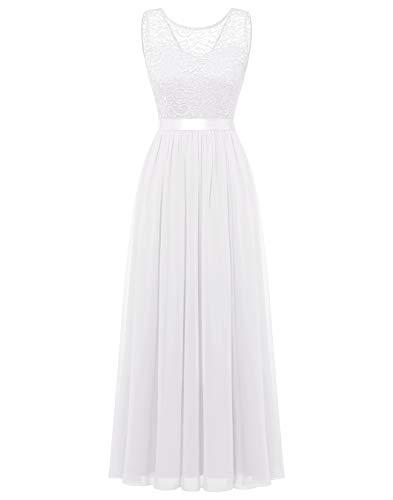 BeryLove Damen Abendkleid Elegant Cocktailkleid Lang Brautjunferkleid Chiffon Spitzen Kleid Hochzeit Party Weiß BLP7025 White L