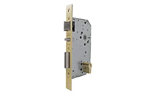 Tesa Assa Abloy 203060LP Cerradura De Embutir Para Puertas De Madera Con Cilindro Latón Pulido Entrada 60 mm, Frente Cuadrado 2030