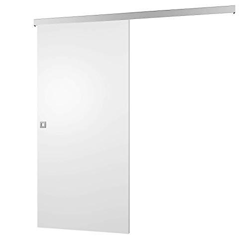 inova Schiebetür Holz 880 x 2035 mm weiß Alu Komplettset mit Lauf-Schiene und Quadratgriff inkl. Softclose