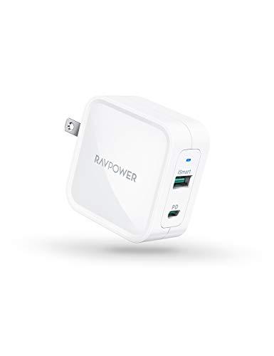 PD 充電器 RAVPower Type C 急速充電器 65W USB-A + USB-C 【GaN (窒化ガリウム)採用/2ポート/PD対応/折りたたみ式/PD Pioneer Technology採用】 iPhone/MacBook/ノートパソコン/Switchなど対応 RP-PC133 (ホワイト)