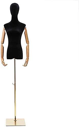 SDHENAILIAN Maniquí Confección Formulario De Vestido Femenino Ajustable para Camiseta/Falda/Vestido De Boda, Moda Negra Maniquin Torso Soporte De Exhibición De Ropa con Base (Color : Square Base)