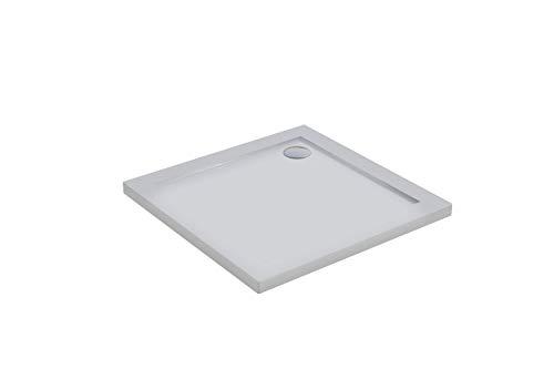 Piatto Doccia 80x80 Quadrato Acrilico Bianco Lucido Ultraslim Altezza 4cm Piletta Inclusa