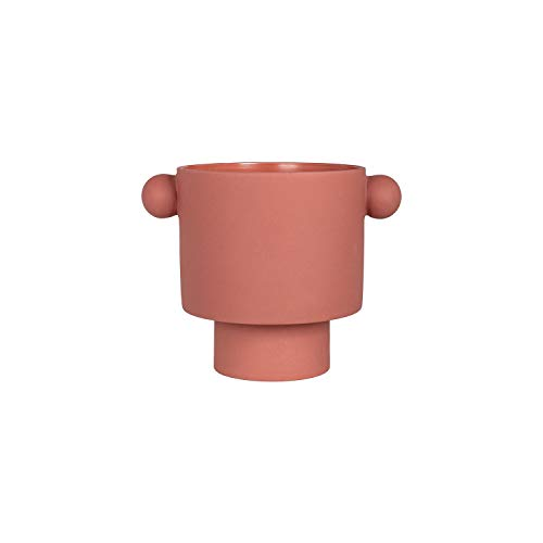 OYOY Maceta Living Inka Kana Pot grande, cerámica, 15 x 16 cm, color gris, beige, marrón (Sienna Terracotta)