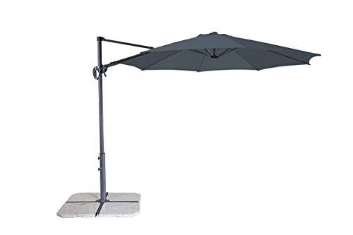 Derby Ravenna Smart 300 – Hochwertiger Ampelschirm ideal für Garten und Terrasse – Neigbar – ca. 300cm – Anthrazit