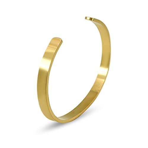 Herren-Armreif Edelstahl Gold Modisch Fashion Armband aus massivem 316L Stahl robuste größenverstellbare Armspange | minimalistischer Männer-Schmuck aus Deutschland (matt, gold)