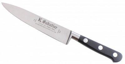 K SABATIER - Cuisine 15 Cm Gamme Authentique - Acier Inoxydable - Manche Noir - 100% Forge - Entièrement Fabrique en France