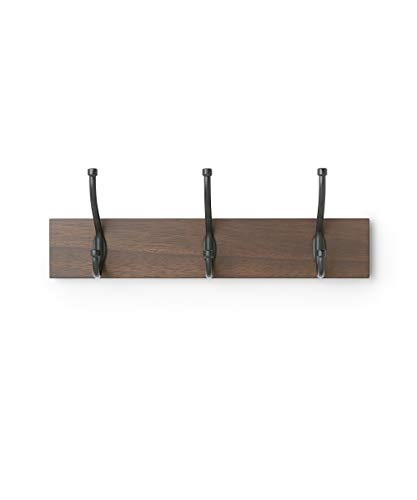 Amazon Basics - Perchero de madera de pared, 3 ganchos estándar 34 cm, Nogal