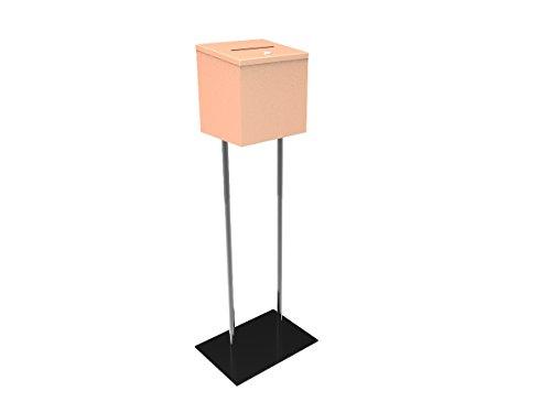 FixtureDisplays Beige Metal Ballot Box Donation Box Suggestion Box with Black Stand 11064+10918-BEIGE