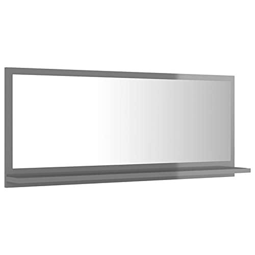 Tidyard Lustro łazienkowe z półką, lustro ścienne, lustro łazienkowe, lustro wiszące, meble łazienkowe z płyty wiórowej i szkła, 90 x 10,5 x 37 cm (szer. x głęb. x wys.), kolor szary na wysoki połysk