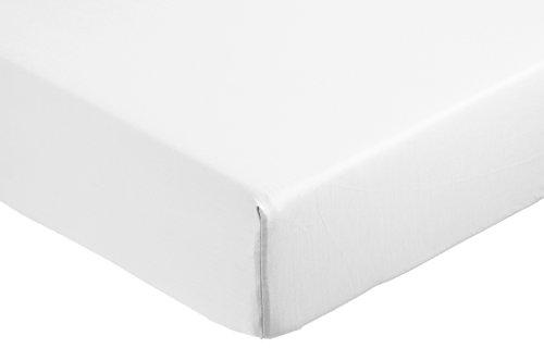 AmazonBasics - Sábana bajera ajustable (algodón satén 400 hilos, antiarrugas) Blanco -...