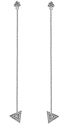 CHXISHOP Un par de pendientes de plata de ley 925 con borla de plata de ley y cadena larga, pendientes de triángulo geométrico, pendientes de plata de ley para mujer