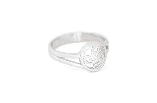 Talisman Jewellery - Anillo Unisex de Plata Rodiada con Lauburu Central de Doble Hilo - CONFIRMAR DISPONIBILIDAD de Tallas Antes de Comprar - (12)