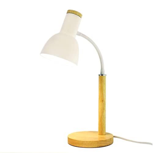 CHENXTT Lámpara de mesa LED, protección ocular, lámpara de mesa de estudio, ángulo ajustable, lámpara de mesita de noche, de madera, color blanco, 3 colores de atenuación