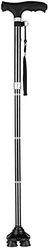 Bastones bastones plegables con mango ergonómico 6 niveles de altura ajustable Luz LED ajustable para hombres   Mujeres mayores de artritis discapacitados y ancianos bastón con 4 patas Base máx. 100