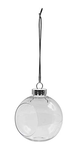Creative Hobbies Clear Plastic Ornament Balls, Open Front with Flat Bottom, Great for Terrariums, 3.25 Inch (83 mm), Box of 12 Pieces
