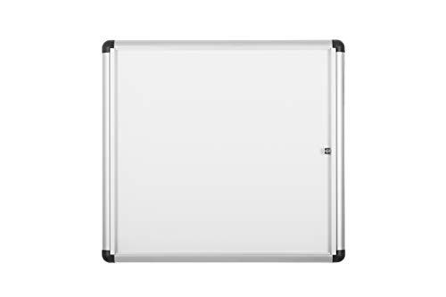 Bi-Office Boletín Enclore Extra, Superficie magnética en acero lacado, Tablón de anuncios con puerta con bisagras para aluminio interior, 748 x 686 mm - 6xA4