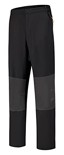 SPOSULEI Mens Hiking Athletic Pants Quick-Dry Lightweight Water Resistant Sweatpants with Zipper Pockets Black