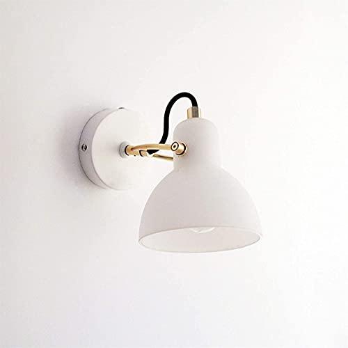 Lámpara de pared Lámpara de pared con cama simple, lámpara de pared de dormitorio led blanca moderna, pantalla de cristal, base de hierro, dirección ajustable, adecuado para sala de estar, sala de est