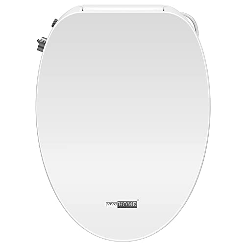 VIVOHOME Smart Heated Bidet Toilet Seat with Self-Cleaning Nozzle for Rear and Front Cleansing, Warm Air Dryer with Adjustable Temperature Settings, Soft Close Lid, Nightlight