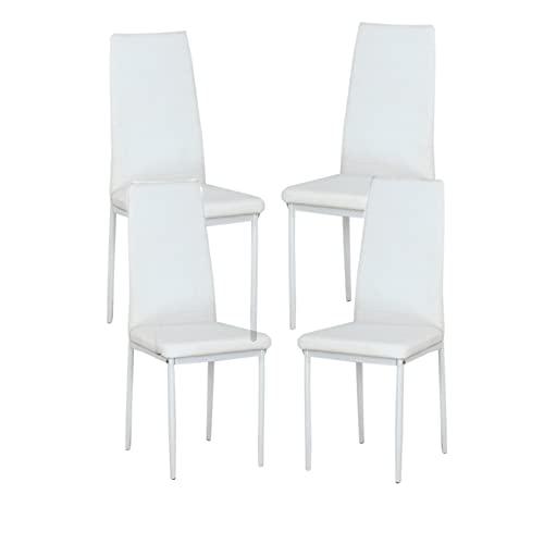 Set di 6 sedie da soggiorno per soggiorno, sedie da soggiorno, sedie reclinabili con schienale imbottito rosa, blu, adatte per la cucina e la sala da pranzo (bianco, 4)