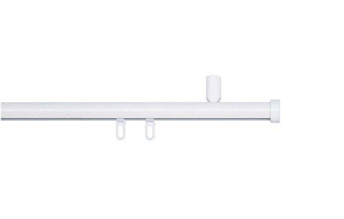 indeko CONSUL, Gardinenstange mit Innenlauf Ø 20mm auf Maß zur Deckenmontage, 1-Lauf, weiß, Komplettset mit Zubehör