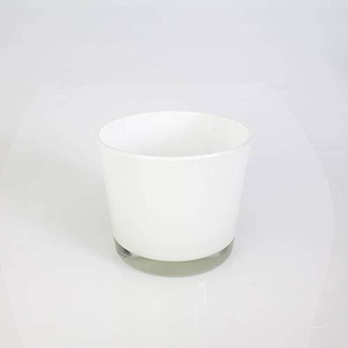 INNA-Glas Bougeoir - Pot à orchidée Alena en Verre, Blanc, 12,5cm, Ø 14,5cm - Cache-Pot en Verre - Petit Vase Blanc