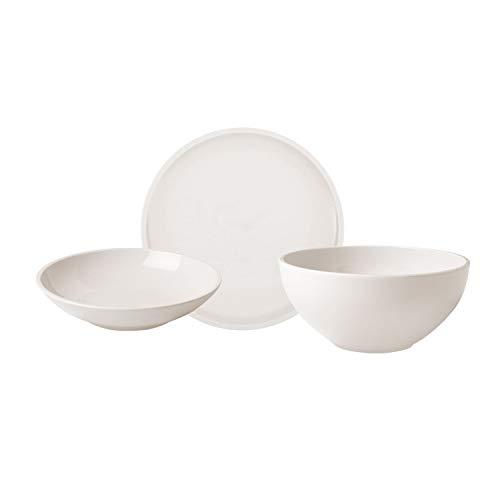 Villeroy & Boch 10-4130-8951 Servicio Original, 9 piezas, combinado con plato llano, escudilla para pasta y fuente, porcelana premium, apto para lavavajillas, Porcelain, Blanco(Artesano)