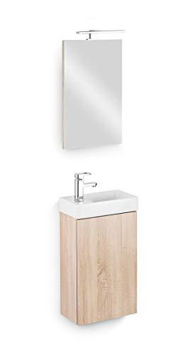 Galdem Bad-Set CUBE Gäste WC Set Gästebad Badmöbel Waschbecken Unterschrank Keramikwaschbecken Waschtisch Spiegel LED Beleuchtung Softclose Eiche Sägerau