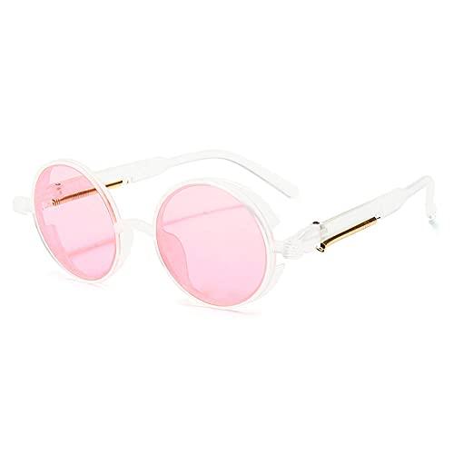XDOUBAO Gafas de sol Marco redondo Gafas de sol de plástico Hombres y mujeres personalidad Péngulo Péndulo Gafas de sol-Caja transparente en polvo