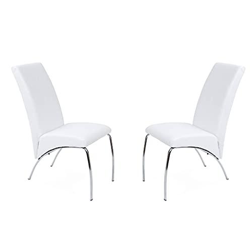 Arco, Pack de 2 Sillas de Comedor, Silla de Salon, Silla Tapizada, Acabado en Simil Piel Color Blanco, Medidas: 43 cm (Ancho)...