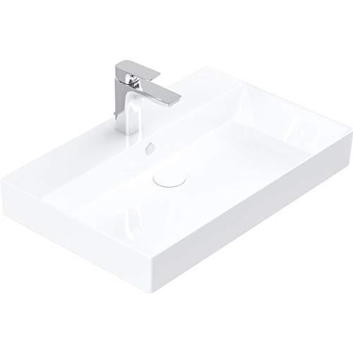 Handwaschbecken zur Wandmontage – Keramik Waschbecken eckig 70 cm – Farbe: Weiß