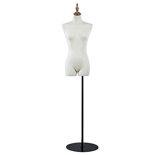 HUIYUAN Modell Requisiten Weibliches Mannequin Torso Körper Mit Holz-Kopf-Abdeckung Metall Schwarz Runder Basis for Kleidung Brautkleid Schmuck-Anzeigen