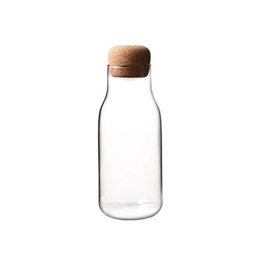 WXGY Corcho Cristal Botella de Leche Jugo de Botella de Almacenamiento Transparente Puede sellar té café Tanque de Almacenamiento de Cocina Resistente al Calor azúcar Recipiente con Tapa de Corcho