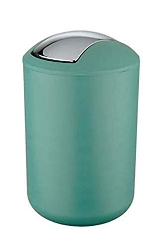 WENKO Schwingdeckeleimer Brasil Grün L - Kosmetikeimer, absolut bruchsicher Fassungsvermögen: 6.5 l, Kunststoff (TPE), 19.5 x 31 x 19.5 cm, Grün