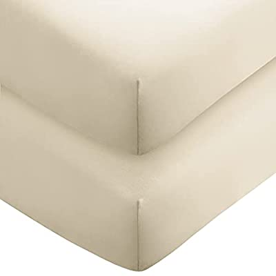 Bare Home 2-Pack Fitted Bottom Sheets Queen - Premium 1800 Ultra-Soft Wrinkle Resistant Microfiber - Hypoallergenic - Deep Pocket (Queen, Sand)