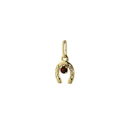 NKlaus 7707 - Ciondolo a forma di ferro di cavallo con solitario in oro giallo 333