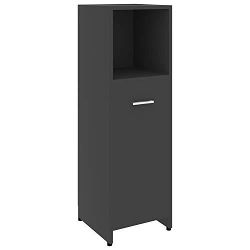 pedkit Armario de Cuarto de baño aglomerado 1# Negro 30x30x95 cm | Armario de almacenaje Botiquín Mesita de Noche Rinconera