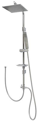 Duschgarnitur mit Regendusche ohne Armatur 120cm Duschstange mit Überkopfbrause höhenverstellbare Wandhalterung in Chrom