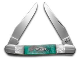CASE XX White Pearl and Spring Rain Corelon Muskrat Stainless Pocket Knife Knives