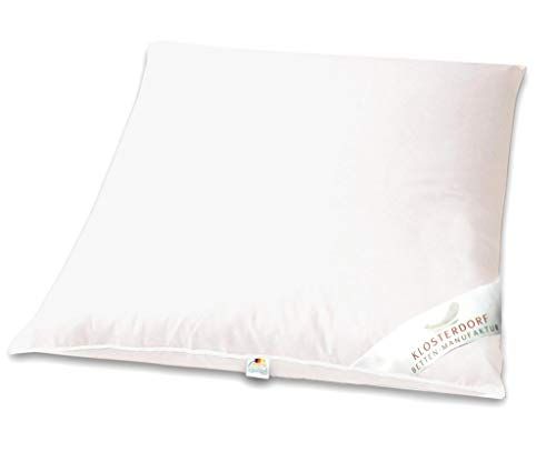 Klosterdorf Bettenmanufaktur Premium Kopfkissen ''üppig Deluxe'' | 80x80 cm | 1050 Gramm | Handarbeit aus Deutschland | Für einen gesunden Schlaf