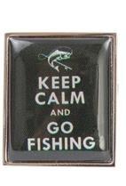 DLC Keep Calm und Go Fishing Manschettenknöpfe Grün