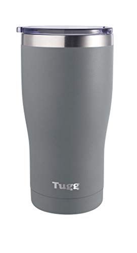 Tugg 20 Ounce Double Insulated Tumbler, Gray, Matte, Lid included with our powder coated Tumbler, Stainless Steel 18/8 Tumbler