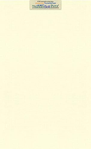 50 Natural Linen 80# Cover Paper Sheets - 8.5' X 14' (8.5X14 Inches) Legal Menu Size - Card Weight - Fine Linen Textured Finish - Quality Cardstock