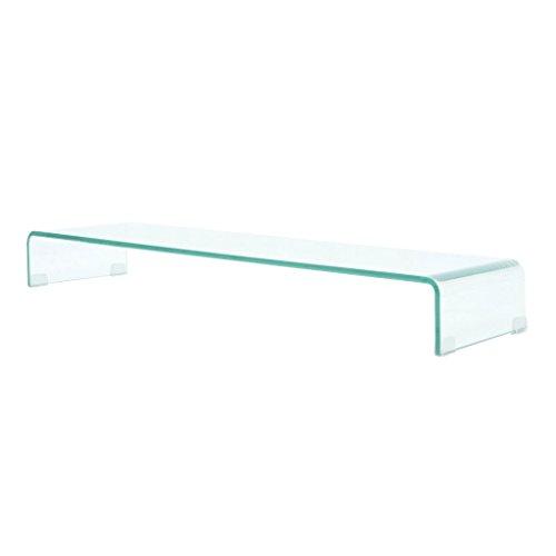 Festnight TV-Tisch aus Glas Bildschirmerhöhung Monitortisch Glastisch Fernsehtisch TV-Board Transparent 100x30x13cm