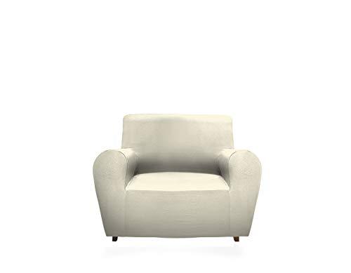 Gemitex Magischer Stuhlbezug aus Stoff, einfarbig und elastisch, Polyester, Creme, Sessel mit Rückenlehne bis 120 cm