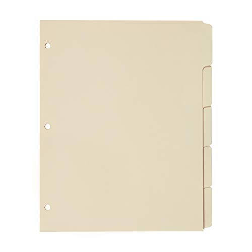 Oxford Blank Write-On Binder Dividers, 5-Tab, 1/5 Cut, 3-Hole Punched, Letter Size, Manila, 20 Sets Per Box (13V) - Cream