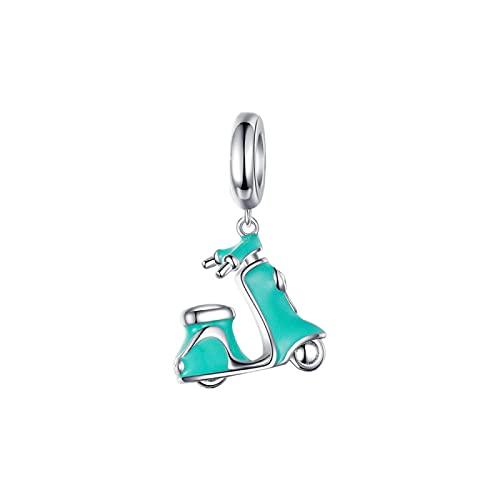 LIJIAN DIY Elektro Fahrrad Anhänger Perlen 925 Sterling Silber Geeignet Für Damen Original Pandora Armband Anhänger Halskette Schmuck Geschenk